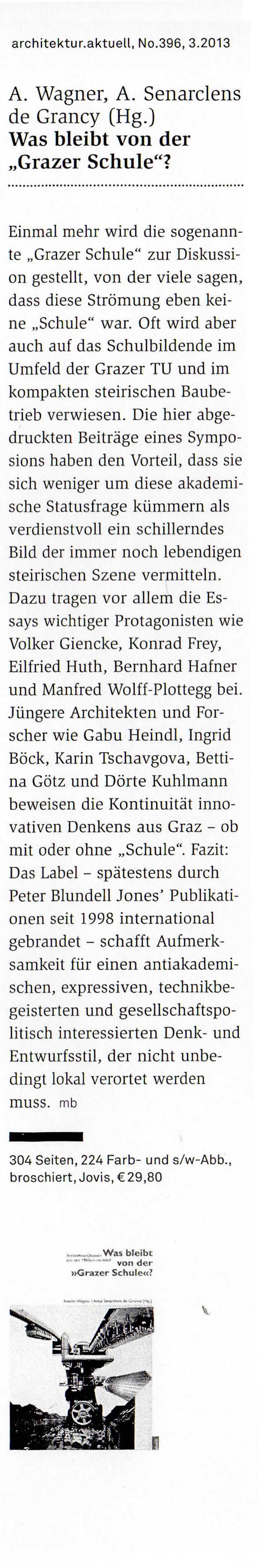 """Link zu Boeckl, Matthias: <i>""""Was bleibt von der Grazer Schule?&#8220;</i>, in: architektur.aktuell, No.396, 03.2013"""