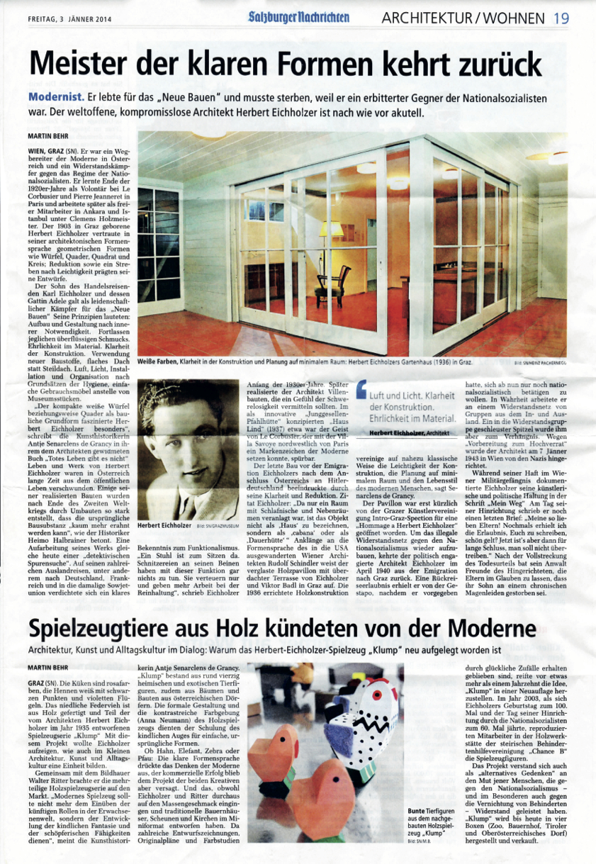 """Link zu Behr, Martin: <i>""""Meister der klaren Formen kehrt zurück&#8220;</i>, in: Salzburger Nachrichten, 03.01.2014"""