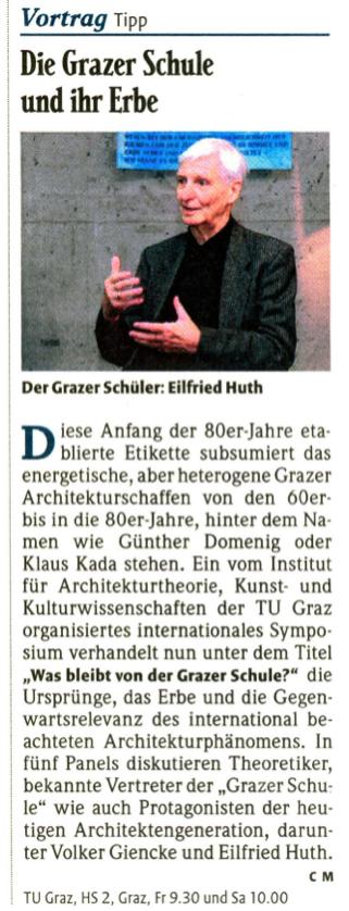 """Link zu <i>""""Die Grazer Schule und ihr Erbe""""</i>, in: Falter 45/10, 08.11.2010"""