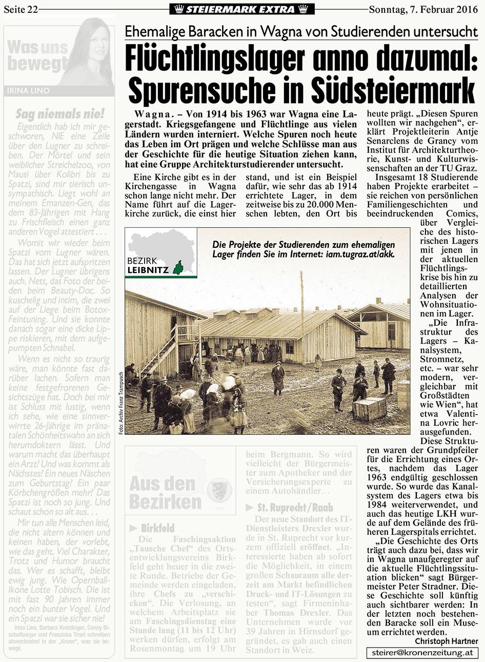 """Link zu Hartner, Christoph: <i>""""Flüchtlingslager anno dazumal: Spurensuche in Südsteiermark""""</i> in: Kronenzeitung, 22.02.2016"""