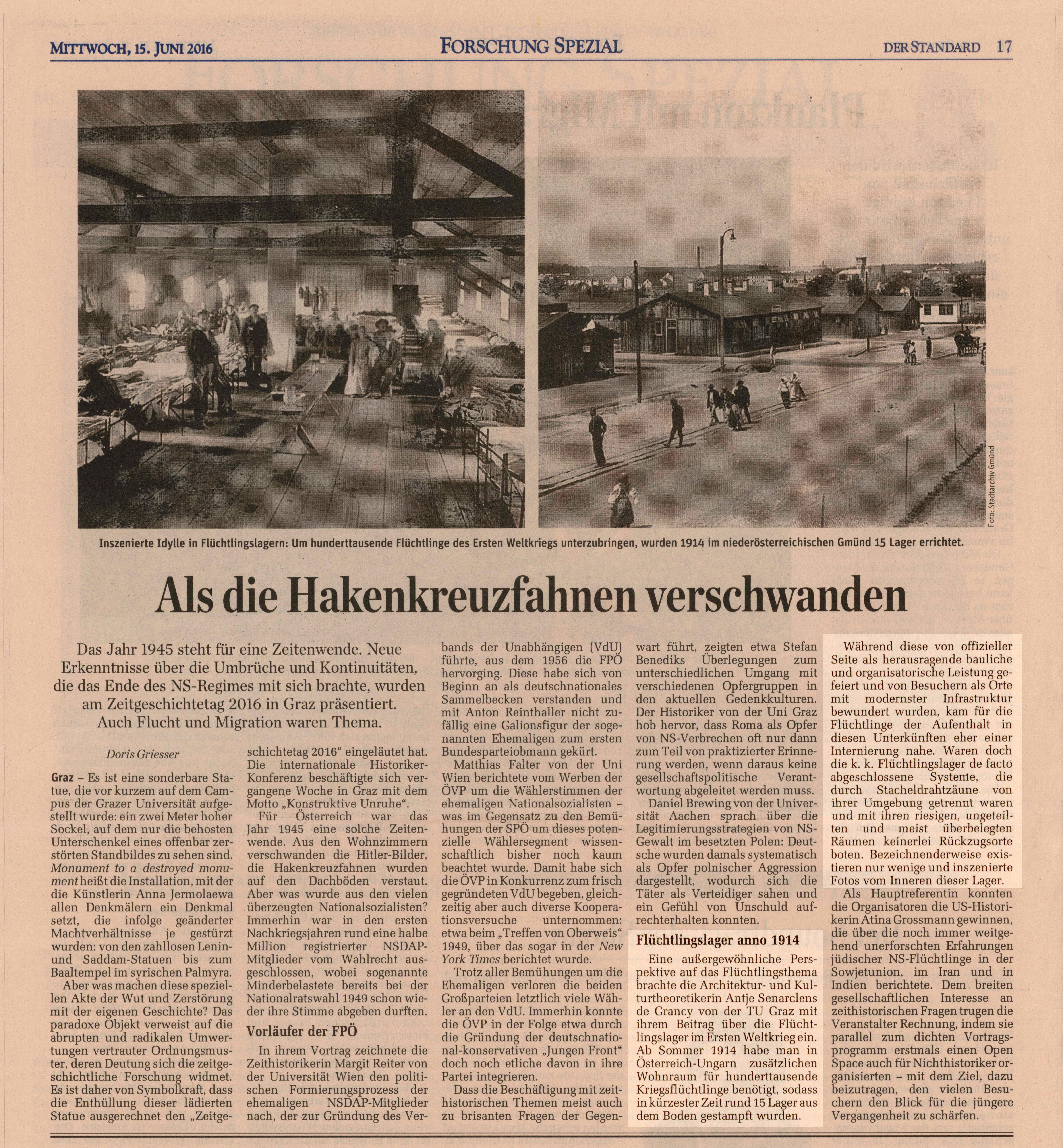 Link zu Griesser, Doris: <i>&#8222;Als die Hakenkreuzfahnen verschwanden&#8220;</i>, in: Der Standard, 15.06.2016